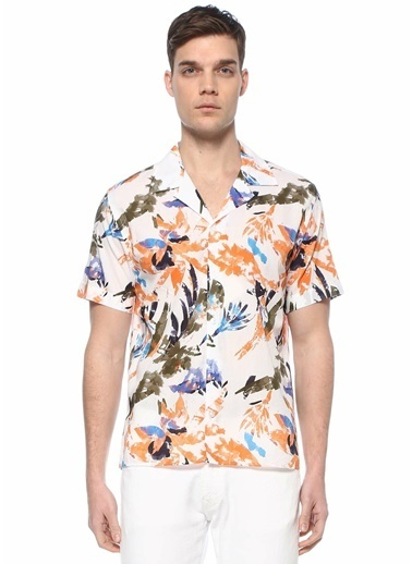 Beymen Club Beymen Club 101590281 Apaş Yaka Kısa Kol Düğme Kapatmalı Suluboya Çiçek Desenli Çok  Erkek Gömlek Renkli